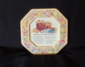 Avon 1982 Hospitality Collectors Tin Plate with Blueberry-Orange Nut Bread Recipe