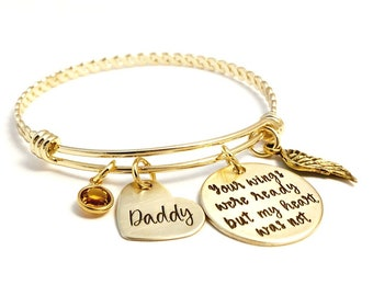 Your wings were ready but my heart was not ~ Custom Loss Remembrance Memorial Miscarriage Bangle - Angel Wing Jewelry -Bereavement Bracelet