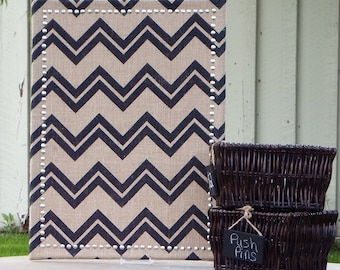 Chevron Burlap Covered Medium Cork Board - Pin Board  - Message Board - Corkboard - Bulletin Board - Silver Border