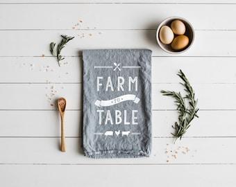Farm to Table Tea Towel • Modern Farmhouse Kitchen Decor •Unique Gardening Farmer Gift • Gray and White Linen Towel Design • FREE SHIPPING