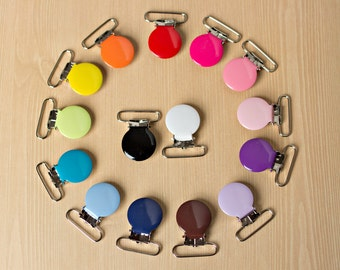 10 ENAMEL Suspender Clips Pacifier Mitten Fabric Dummy Clips  LEAD FREE Round 1 inch