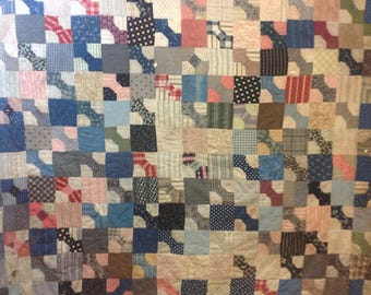 """LARGE Vintage Scrap Bow Tie Turn of the Century Quilt Top 74"""" x 82"""" for Repurposing  Wabi-sabi Cutter Recycle"""