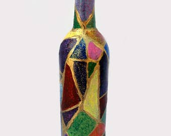 Stained Glass look bottle vase, hand-painted, upcycled, bud vase, colorful, bold, home decor item, gift, table/mantle/shelf, Free Shipping