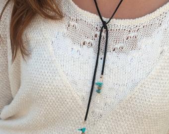 Black Leather Choker * Necklace * Gemstone * Boho * Hippie *Bohemian * Minimalist * Handmade * Crystal * Turquoise * Bycila *