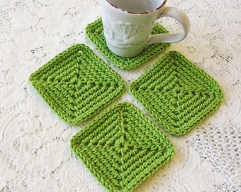 Green Crochet Coasters - Modern Minimalist Square Coasters  - Rustic Decor - Handmade Drink Coasters - Cottage Decor