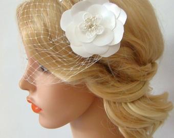 Birdcage Veil, Wedding Veil, Flower Hair Clip, Bird Cage Veil, Bandeau Birdcage Veil Flower Fascinator, 2 Pieces Set, Detachable Bridal Veil