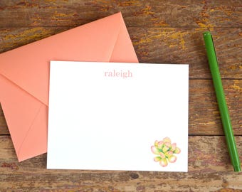 Succulent Stationery. Succulent Thank You Note. Thank You. Thank You Note. Succulent. Cactus. Stationery. Note Card. Customized.