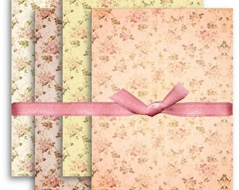 A4 Shabby Chic Floral Backgrounds Digital Collage Sheet Download -1091- Digital Paper - Instant Download Printables