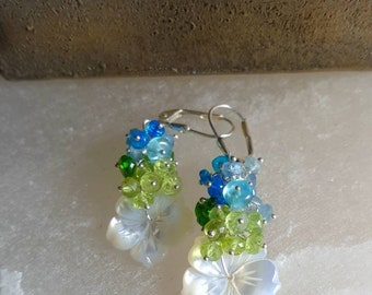 New! Carved Mother Of Pearl Flower with Peridot Aquamarine and Marine Blue Ethiopian Opal on Sterling Silver Mothers Day Gift for Her