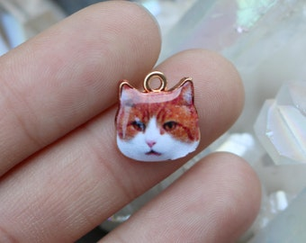 set of 25, sassy cat charms, enamel charms, wholesale charms, 13mm x 13mm, cat face charms, cute cat face charms,
