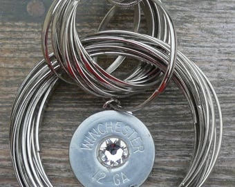 Metal Round Circles with Shotgun Shell Pendant