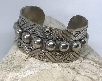 Vintage TAXCO Mexico Nickel Chunky Cuff Bracelet
