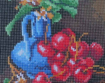 Needlepoint tapestry, Still life with cherries, 18 x 24 cm, REF 2852