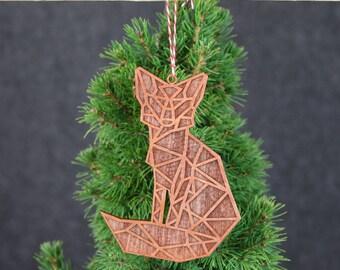 Geometric Christmas Ornament-Wooden Fox Christmas Ornament-Modern Christmas Ornament-Modern Christmas Decorations-Christmas gifts-Decor