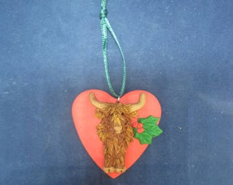 Unique Highland Cow/Coo Ornament by K9 Kreations