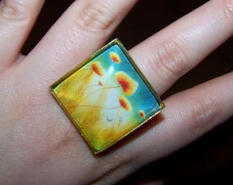 Gold square Adjustable ring 25mm, pattern choice