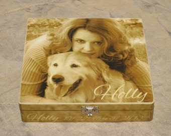 Pet Memorial Keepsake Box, Personalized Photo Keepsake Box, Unique Dog Memorial, Pet Urn, Custom Cat Memorial, Pet Gift Memory Box, Birthday