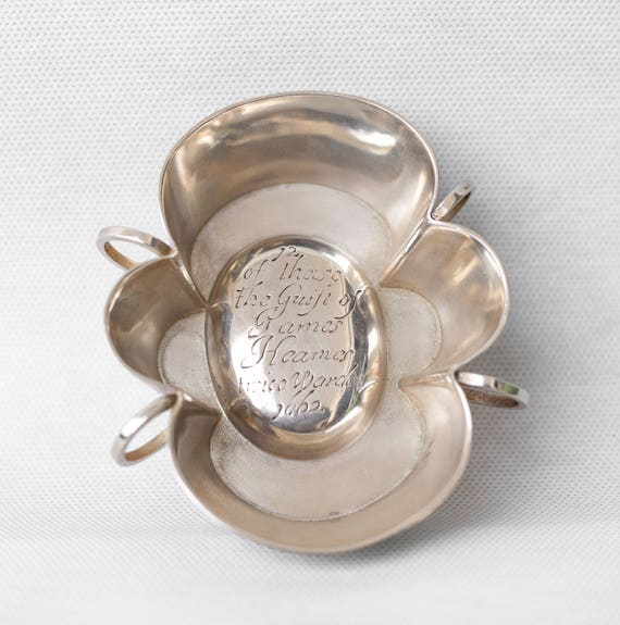 & Salt Shaker vintage silver clover four leaves Heames james