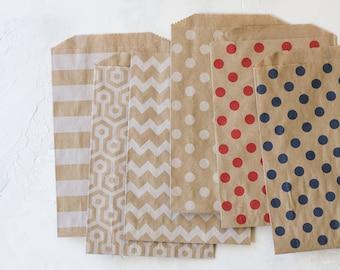 Patterned Brown Kraft Large Bags - 20 pc - Horizontal Stripe / Honeycomb / Chevron / White Polka Dot / Red Polka Dot / Navy Blue Polka Dot