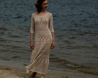 Crochet dress PATTERN, Boho crochet lace wedding dress PATTERN only Russian, Схемы для вязания макси платья, только на русском языке