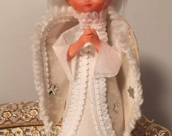 Vintage Christmas Angel Girl Tree Topper White Silver Holiday Decor Japan
