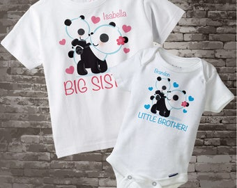 Big Sister Little Brother Outfits - Matching Sibling Set of 2 - Kids Matching Outfits - Panda Bear - Price is for Both Items 08162016b