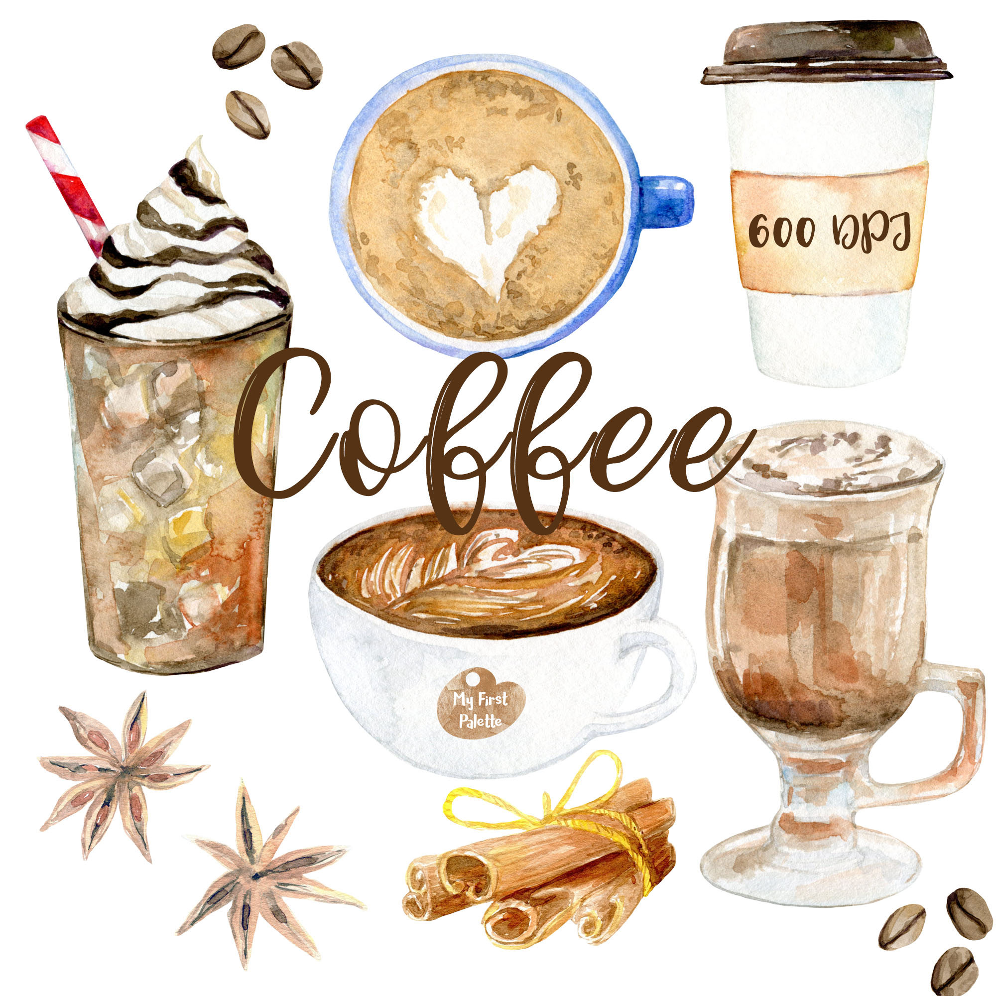 Watercolor coffee clipart 600 dpi png drink collection for Coffee watercolor