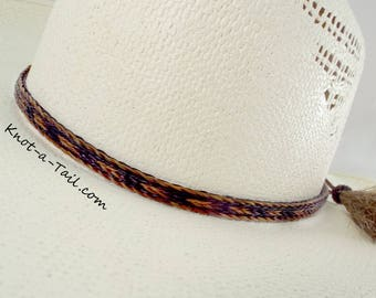 Horsehair hat band, Cowboy hat band, 3 Strand wide, stunning brown/black horsehair, Cowboy perfect, Distinctive horsehair double tassels