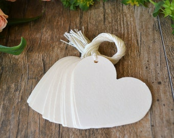 cream heart tags with string, cream heart price tags, cream heart gift tags, cream heart favor tags, wedding favor tags- 15 tags