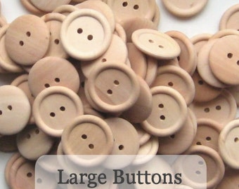 Large Unfinished Wooden Buttons 1 inch, Pack of 50