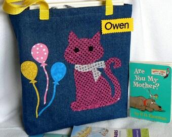 Kitty Tote Bag|Personalized Tote Bag|Preschool Bag|Toddler Bag|Children's Book Bag|Library Book Bag|Kids Gift Bag|Denim Tote Bag