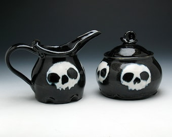 Skull Creamer & Sugar Bowl Set in Black and White Glaze