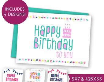 Happy Birthday Printable Greeting Card Bundle, Childrens Birthday Cards, Kids Birthday E-Card, Boys Girls Birthday Party Printable Card 1213