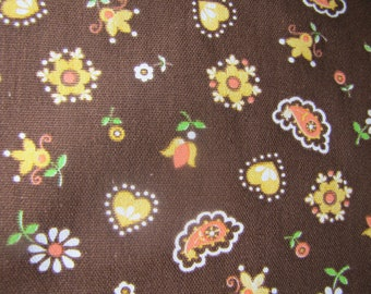 1970s Folk Fabric, 1970's Fabric, Tulip Fabric, Vintage Fabric, Big Piece of Fabric, Heart, Decorator Weight Fabric