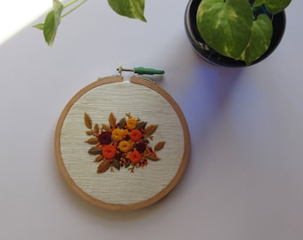Floral hand embroidered hoop
