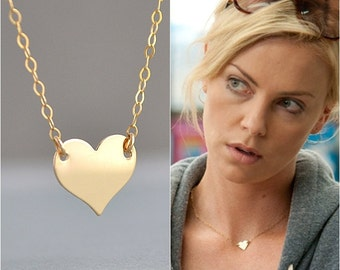 GOLD HEART NECKLACE, Celebrity Necklace, Minimal Necklace, Everyday Simple Jewelry, 14k Gold Fill, Gold Necklace