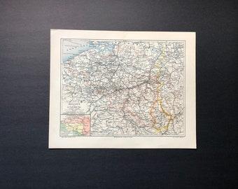 C. 1894 - BELGIUM & LUXEMBOURG MAP - original antique map - Western Europe map - Kingdom of Belgium - Grand duchy of Luxembourg
