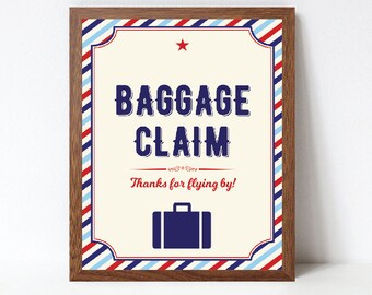 Airplane Baggage Claim Sign, Airplane Birthday Favors Sign, Airplane Baby Shower Favors Sign, Printable, INSTANT DOWNLOAD