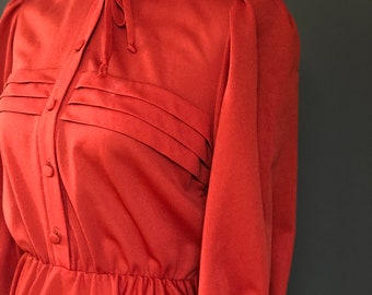 Vintage 1970's Rust Red Dress