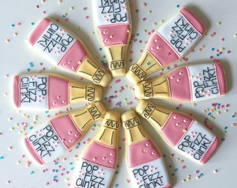 Champagne Cookies, Bachelorette cookies, 21st Birthday, Wedding Cookies, PopClink Fizz, Celebration Cookie, Shower Cookies, Birthday Cookies