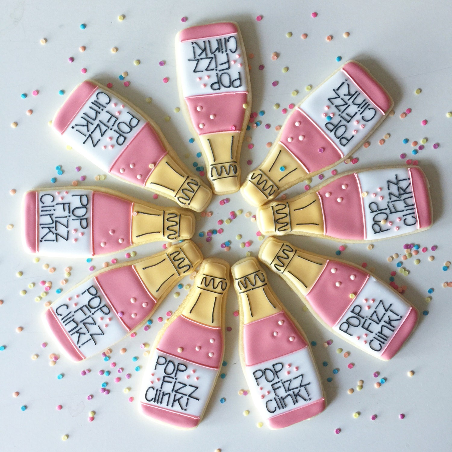 Champagne Cookies Bachelorette Cookies 21st Birthday