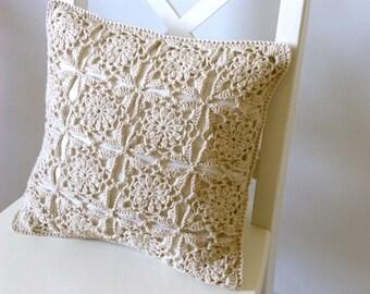 Sand crochet cushion cover, organic cotton cushion cover, lace cushion cover, lace crochet, removable cover, neutral cover, decorative
