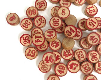 60 Vintage Wooden Game Pieces, Complete set Lotto Markers, Wood Bingo Tokens, Raised Red Numbers, Game Lot Craft Supplies Crafting