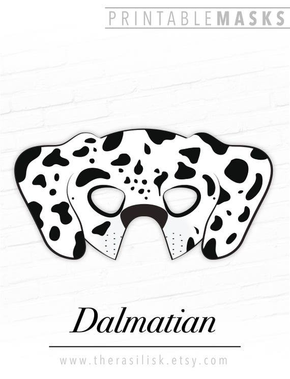 Dalmatian Mask Printable Animal Mask Dog Mask Puppy Mask