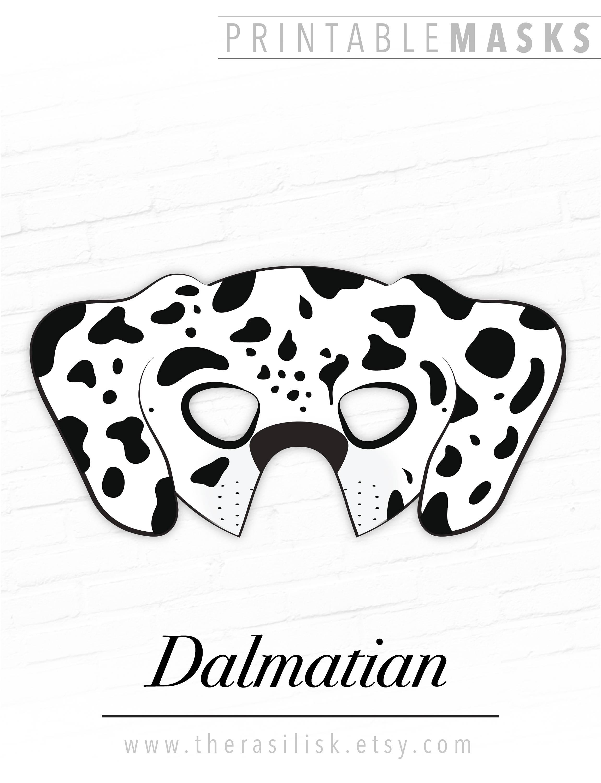Dog Mask Printable: Dalmatian Mask Printable Animal Mask Dog Mask Puppy Mask