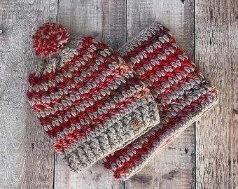 Women's Slouchy Beanie and Cowl Set, Crochet Winter Beanie and Cowl Set, Slouchy Beanie with PomPom, Crochet Hat, Crochet Cowl