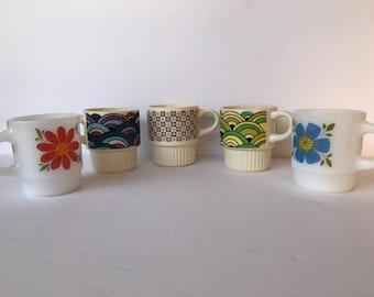 70's Groovy Coffee Mugs 5, Late 60's, Early 70's Coffee Cups