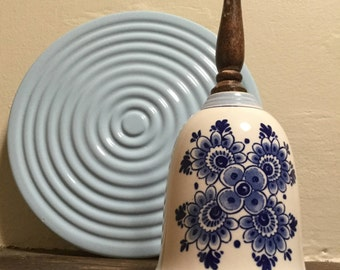 Delftware porcelain bell Wooden handle Dinner bell Made in Holland Vintage Delftware Blue and white collectible Dutch porcelain