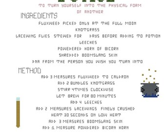 Polyjuice Potion HP cross stitch pattern PDF