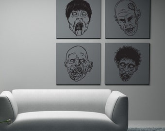 Zombie Fun Pack Vinyl Wall Art-Choose any color and finish